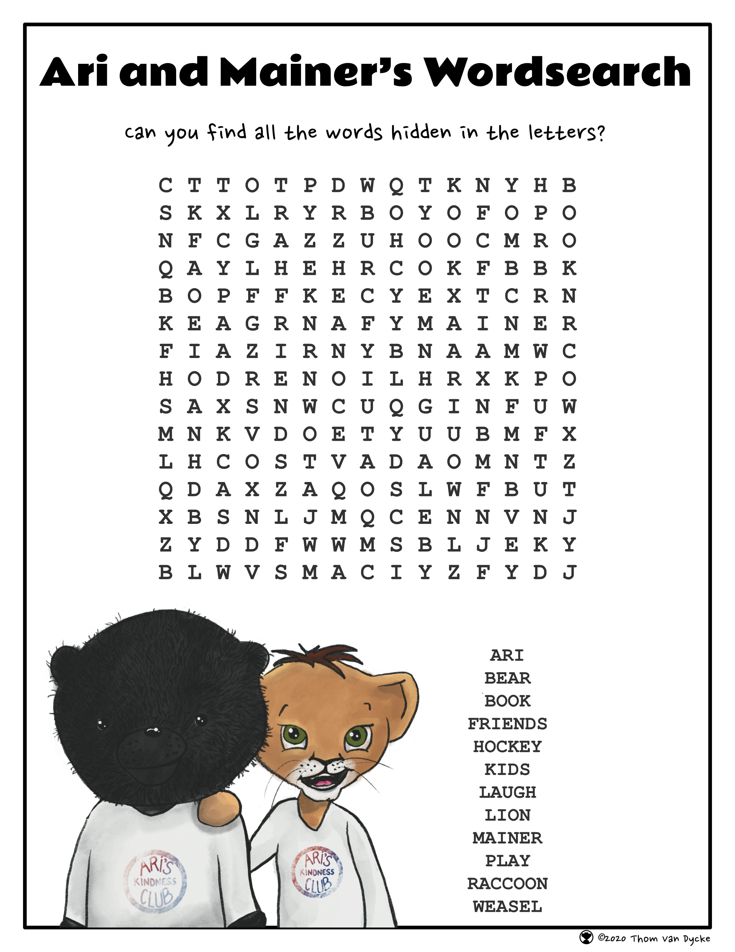 Air and Mainer's Word Search