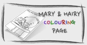 Mary and Hairy the Fish Colouring Page