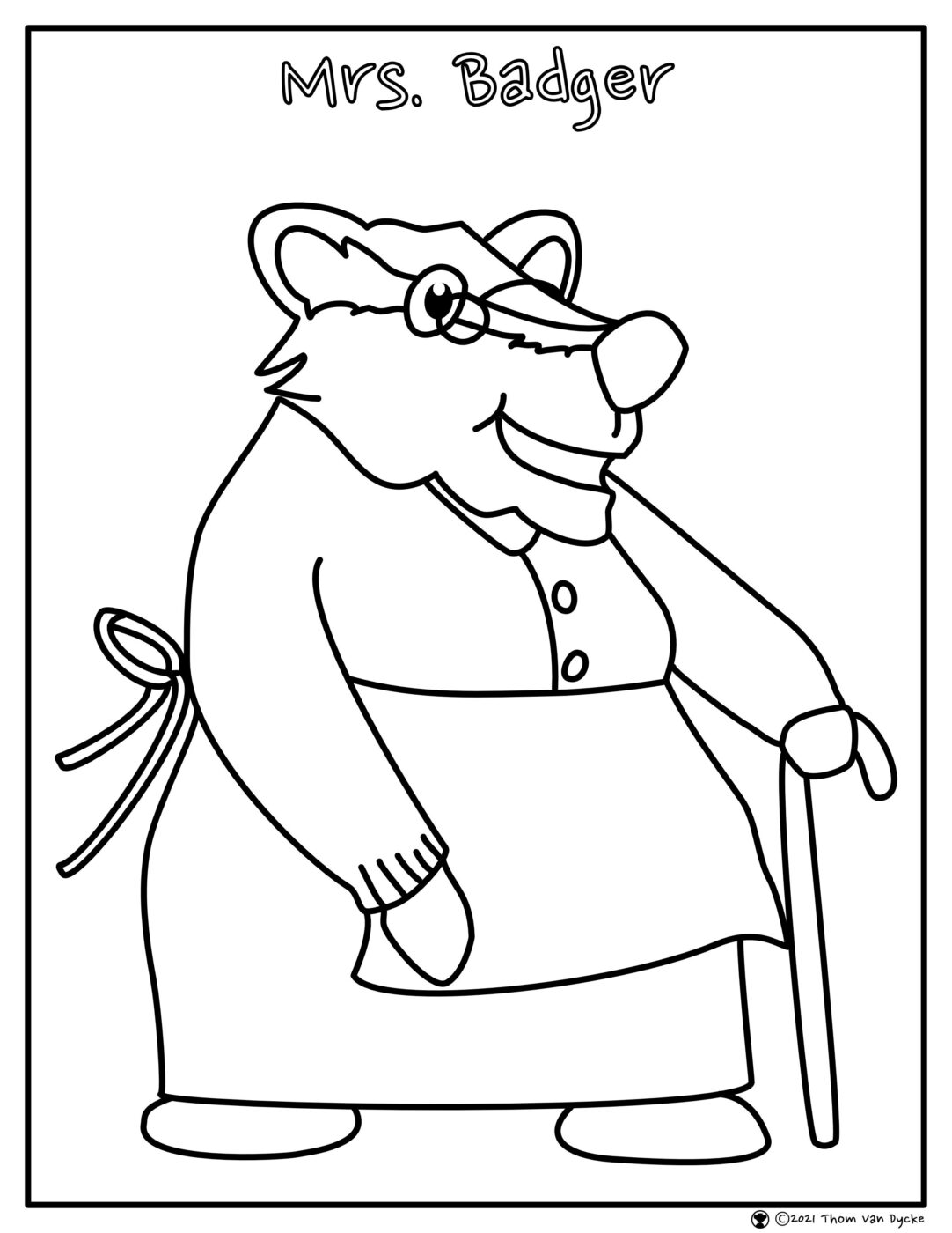 Mrs. Badger Colouring Page scaled